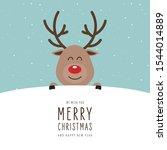 reindeer red nosed cute cartoon ... | Shutterstock .eps vector #1544014889