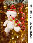 Christmas Snowman On Fir Tree...