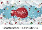 winter christmas composition in ... | Shutterstock .eps vector #1544030213