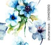 seamless pattern with summer... | Shutterstock . vector #154405850