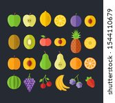 fruits icons. flat design.... | Shutterstock .eps vector #1544110679