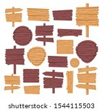 wooden signs set. vector wood... | Shutterstock .eps vector #1544115503