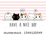 Cute adorable hand drawing cat kitten greeting cartoon doodle cover wallpaper pastel color background ,can use for print on product or decoration ,vector eps10