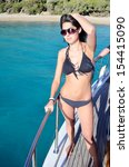 woman enjoying the summer... | Shutterstock . vector #154415090
