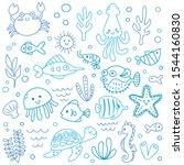 set of cute sea animals in... | Shutterstock .eps vector #1544160830