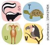 alphabet,animal,bird,cartoon,character,children,education,kids,learning,letters,mammals,school,set,skunk,tortoise