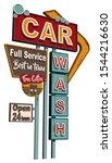 car wash old signage vintage... | Shutterstock .eps vector #1544216630