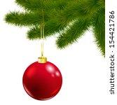 vector christmas tree branch... | Shutterstock .eps vector #154421786