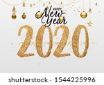 2020 new year. text golden with ... | Shutterstock .eps vector #1544225996