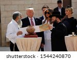 Small photo of Ivanka Trump, Donald Trump and his family pray in front of the Wailing Wall. The Great Western Wall, located in Jerusalem and considered sacred by the Jews. Philistine, Israel 13.04.2018