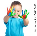 kid with painted hands on a... | Shutterstock . vector #154425680