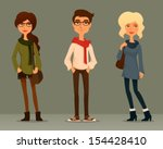 cute and funny cartoon... | Shutterstock .eps vector #154428410