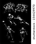 american football,ball,black,catching,competition,competitive sport,dark,football player,grass,illustration vector,light,line of scrimmage,men,night,playing