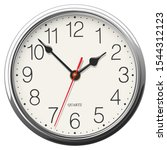 round wall clock with glossy... | Shutterstock .eps vector #1544312123
