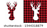 Deer Head Buffalo Plaid  Set. ...