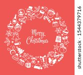 doodle christmas greeting card. ... | Shutterstock .eps vector #1544379716