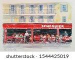 Cafe In Saint Tropez Watercolor ...
