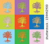vector retro set tree eps10 | Shutterstock .eps vector #154442900