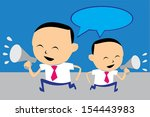 two business man use megaphone... | Shutterstock .eps vector #154443983