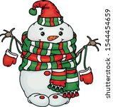 vector  happy  snowman cartoon  ... | Shutterstock .eps vector #1544454659