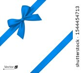 blue bow with diagonally ribbon ... | Shutterstock .eps vector #1544454713