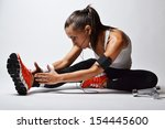 beautiful fitness woman  studio ... | Shutterstock . vector #154445600