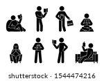 stick figure man reading book... | Shutterstock .eps vector #1544474216