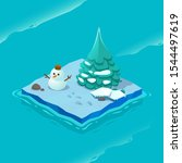 isometric ice island with sea...