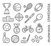sport line icon set on white... | Shutterstock .eps vector #1544524316