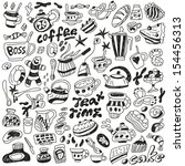 coffee and sweets   doodles... | Shutterstock .eps vector #154456313