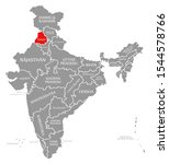 punjab red highlighted in map...   Shutterstock . vector #1544578766