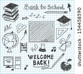 freehand drawing back to school ... | Shutterstock . vector #154458590