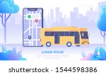 city bus and map app flat... | Shutterstock .eps vector #1544598386