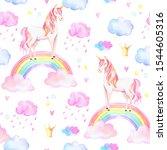 watercolor unicorns pattern... | Shutterstock . vector #1544605316