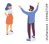 isometric man and woman...   Shutterstock .eps vector #1544627159