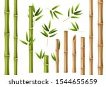 Realistic Bamboo. Green And...