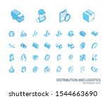 isometric line icon set. 3d... | Shutterstock .eps vector #1544663690