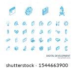 isometric line icon set. 3d... | Shutterstock .eps vector #1544663900