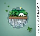 vector paper art and digital... | Shutterstock .eps vector #1544668016
