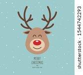 reindeer red nosed cute smile... | Shutterstock .eps vector #1544742293