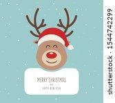 Reindeer Red Nosed Cute Cartoo...