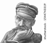 Marshal Jozef Pilsudski Portrait from Poland 20 Zlotych 2018 Banknotes. An Old paper banknote, vintage retro. Famous ancient Banknotes. Collection.