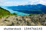 View of Gastineau Channel and Douglas Island from the top of Mt Roberts in Juneau, Alaska
