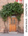 Closed door with vines on the street in Bruges, Belgium  - stock photo