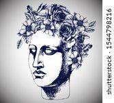portrait of antique sculpture... | Shutterstock .eps vector #1544798216