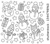 winter set with fun snowmen and ... | Shutterstock .eps vector #1544798963