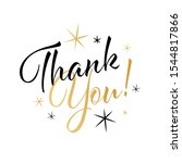 thank you calligraphy with stars | Shutterstock .eps vector #1544817866