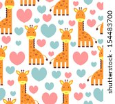 lovely giraffe cute seamless... | Shutterstock .eps vector #154483700