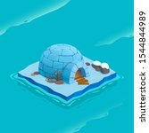 isometric ice island with igloo....