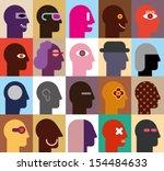 human heads   abstract vector... | Shutterstock .eps vector #154484633